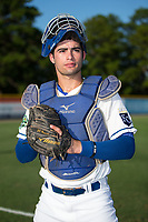 Burlington Royals catcher Sebastian Rivero (3) poses for a photo prior to the game against the Danville Braves at Burlington Athletic Stadium on August 12, 2017 in Burlington, North Carolina.  The Braves defeated the Royals 5-3.  (Brian Westerholt/Four Seam Images)