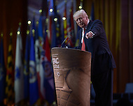National Harbor, MD - March 6, 2014: Businessman Donald Trump points to a supporter in the audience as he addresses attendees of the 2014 Conservative Political Action Conference held at National Harbor, MD March 6, 2014.   (Photo by Don Baxter/Media Images International)