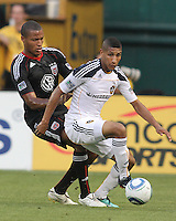 Jordan Graye #16 of D.C. United tackles Sean Franklin #28 of the Los Angeles Galaxy during an MLS match at RFK Stadium on July 18 2010, in Washington D.C. Galaxy won 2-1.