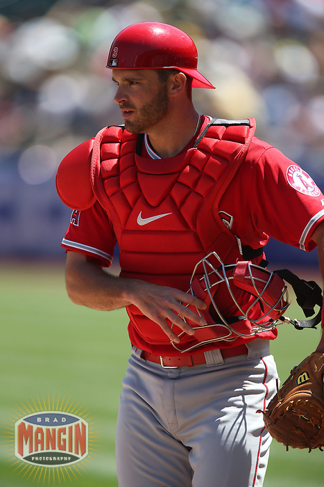 OAKLAND, CA - APRIL 30:  Drew Butera #3 of the Los Angeles Angels works behind the plate against the Oakland Athletics during the game at O.co Coliseum on Thursday, April 30, 2015 in Oakland, California. Photo by Brad Mangin