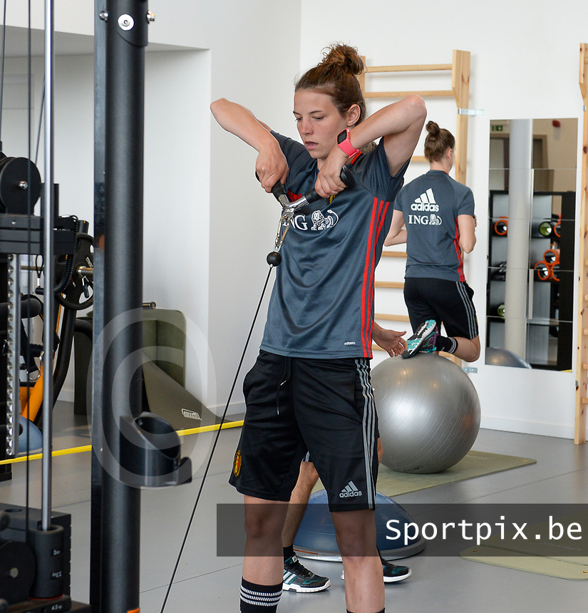 20170608 – TUBIZE , BELGIUM : illustration picture shows a part of the red flames team with Nicky Van Den Abbeele during a fitness and physical session at the fitnessroom of the Belgian national women's soccer team Red Flames trainingscamp to prepare for the Women's Euro 2017 in the Netherlands, on Thursday 8 June 2017 in Tubize.  PHOTO SPORTPIX.BE | DAVID CATRY