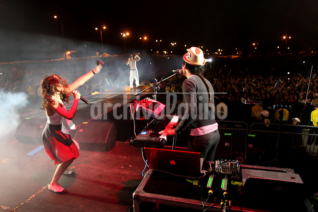 Musician of Puerto Rico band Calle 13 during a concert in Bolivar Park in Bogota, Colombia, where gathered tens of thousands people