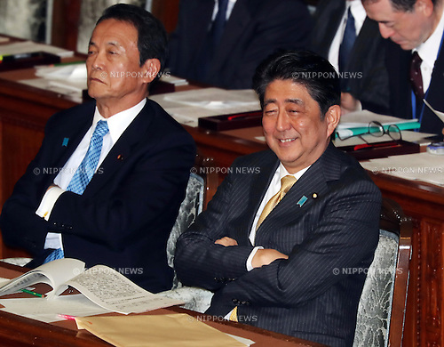 January 23, 2017, Tokyo, Japan - Japanese Prime Minister Shinzo Abe (R) accompanied by Finance Minister Taro Aso (L) listens to questions by the main opposition Democratic Party Secretary General Yoshihiko Noda for Abe's policy speech at the Lower House's plenary session at the National Diet in Tokyo on Monday, January 23, 2017. Abe said he had no change of his view for U.S. President Donald Trump as Trump was a trustworthy leader.   (Photo by Yoshio Tsunoda/AFLO) LWX -ytd-