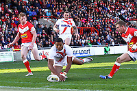 PICTURE BY ALEX WHITEHEAD/SWPIX.COM - Rugby League - Autumn International Series - Wales vs England - Glyndwr University Racecourse Stadium, Wrexham, Wales - 27/10/12 - England's Kallum Watkins scores a try.