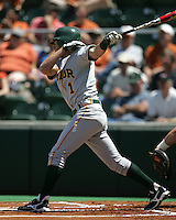 Baylor SS Beemer Weems follows through against Texas on May 3rd, 2008. Photo by Andrew Woolley / Four Seam Images