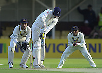 30/05/2002.Sport -Cricket - 2nd NPower Test -First Day.England vs Sri Lanka.Marcus Trescothick batting with Kumar Sangakkara keeping wicket. [Mandatory Credit Peter Spurrier:Intersport Images]