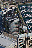 aerial photograph Marriott San Diego Harbor and Manchester Grand Hyatt hotels, San Diego, California