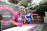 Maglia Ciclamino Elia Viviani (ITA) Quick-Step Floors at sign on before the start of Stage 21 of the 2018 Giro d'Italia, running 115km around the centre of Rome, Italy. 27th May 2018.<br /> Picture: LaPresse/Massimo Paolone | Cyclefile<br /> <br /> <br /> All photos usage must carry mandatory copyright credit (&copy; Cyclefile | LaPresse/Massimo Paolone)