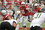 Washington State quarterback, Jeff Tuel (#10), changes the play at the line of scrimmage during the Cougars Pac-10 conference tilt at Martin Stadium in Pullman, Washington, on October 9, 2010.  The Ducks broke open a tight game in the fourth quarter to win, 43-23.