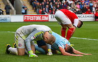 Players from both sides recover after a collision<br /> <br /> Photographer Alex Dodd/CameraSport<br /> <br /> The EFL Sky Bet League One - Fleetwood Town v Accrington Stanley - Saturday 15th September 2018  - Highbury Stadium - Fleetwood<br /> <br /> World Copyright &copy; 2018 CameraSport. All rights reserved. 43 Linden Ave. Countesthorpe. Leicester. England. LE8 5PG - Tel: +44 (0) 116 277 4147 - admin@camerasport.com - www.camerasport.com