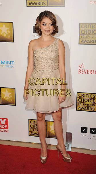 Sarah Hyland.The 2nd Annual Critics' Choice Television Awards held at The Beverly Hilton in Beverly Hills, California, USA..June 18th, 2012.full length dress beige silver beads beaded one shoulder .CAP/ROT/TM.©Tony Michaels/Roth Stock/Capital Pictures