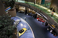 Cars on display in the Renaissance Centre in Detroit, Michigan, worldwide headquarters of General Motors (GM).