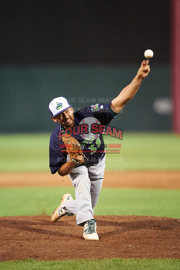 Vermont Lake Monsters relief pitcher Ivan Andueza (38) during a game against the Auburn Doubledays on July 12, 2016 at Falcon Park in Auburn, New York.  Auburn defeated Vermont 3-1.  (Mike Janes/Four Seam Images)