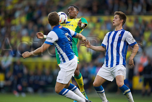 06.08.13 Norwich, England.  Leroy Fer controls the ball under pressure during the Pre Season Friendly between Norwich and Real Sociedad from Carrow Road.