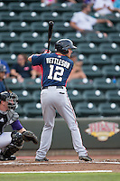 Drew Vettleson (12) of the Potomac Nationals at bat against the Winston-Salem Dash at BB&T Ballpark on July 15, 2016 in Winston-Salem, North Carolina.  The Dash defeated the Nationals 10-4.  (Brian Westerholt/Four Seam Images)