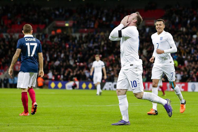 England&rsquo;s Wayne Rooney celebrates scoring his sides second goal <br /> <br /> Photographer Craig Mercer/CameraSport<br /> <br /> Football International - England v France - Tuesday 17th November 2015 - Wembley Stadium - London<br /> <br /> &copy; CameraSport - 43 Linden Ave. Countesthorpe. Leicester. England. LE8 5PG - Tel: +44 (0) 116 277 4147 - admin@camerasport.com - www.camerasport.com