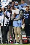 18 October 2014: UNC head coach Larry Fedora. The University of North Carolina Tar Heels hosted the Georgia Tech Yellow Jackets at Kenan Memorial Stadium in Chapel Hill, North Carolina in a 2014 NCAA Division I College Football game. UNC won the game 48-43.