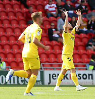 Fleetwood Town's Paddy Madden (right) celebrates scoring his side's second goal <br /> <br /> Photographer David Shipman/CameraSport<br /> <br /> The EFL Sky Bet League One - Doncaster Rovers v Fleetwood Town - Saturday 17th August 2019  - Keepmoat Stadium - Doncaster<br /> <br /> World Copyright © 2019 CameraSport. All rights reserved. 43 Linden Ave. Countesthorpe. Leicester. England. LE8 5PG - Tel: +44 (0) 116 277 4147 - admin@camerasport.com - www.camerasport.com