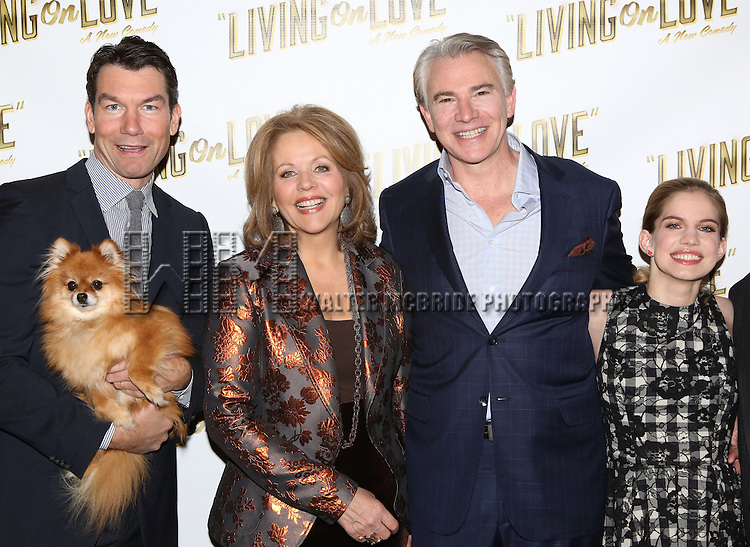 Jerry O'Connell, Trixie, Renee Flemming, Douglas Sills, Anna Chlumsky attends the 'Living on Love' photo call at the Empire Hotel on March 12, 2015 in New York City.