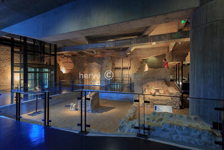 France, Indre (36), Saint-Marcel, Argentomagus, musée et crypte archéologiques, ici la crypte // France, Indre, Saint Marcel, Argentomagus, museum and archaeological crypt, crypt here