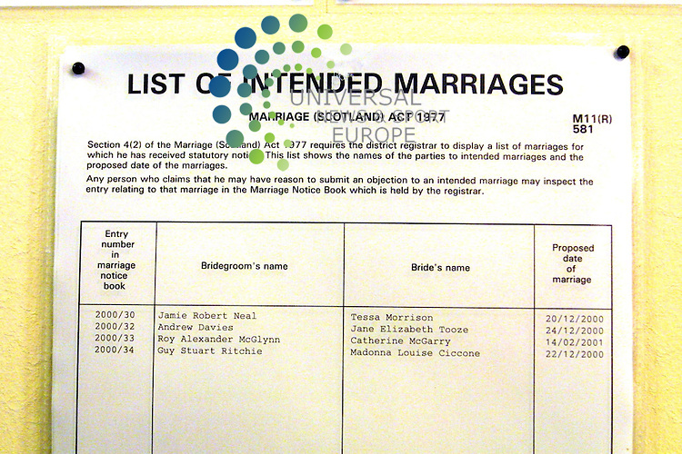Wedding Bands posted at Dornock Council Office..Madonna Louise Ciccone and Guy Stuart Ritichies weeding bands where posted on the Council office bill board. The wedding will take place on December 22, 2000 in Dornock.Scotland. Pic: Maurice McDonald.  7th Of Dec 2000.