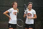 April 22, 2015; San Diego, CA, USA; Pacific Tigers tennis players Iveta Masarova (left) and Hana Ritterova (right) during the WCC Tennis Championships at Barnes Tennis Center.