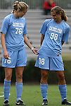 18 September 2009: North Carolina's Ali Hawkins (76) and Tobin Heath (98). The University of North Carolina Tar Heels defeated the Louisiana State University Tigers 1-0 at Koskinen Stadium in Durham, North Carolina in an NCAA Division I Women's college soccer game.