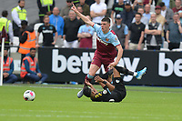 Declan Rice of West Ham United and Riyad Mahrez of Manchester City during West Ham United vs Manchester City, Premier League Football at The London Stadium on 10th August 2019