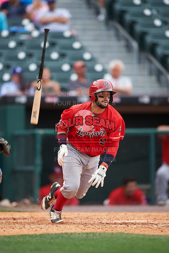 Louisville Bats catcher Raffy Lopez (9) at bat during a game against the Buffalo Bisons on June 23, 2016 at Coca-Cola Field in Buffalo, New York.  Buffalo defeated Louisville 9-6.  (Mike Janes/Four Seam Images)