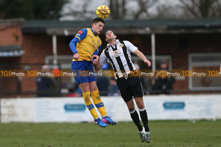 Jed Chouman of Hornchurch and Adam Bolle of Heybridge during Heybridge Swifts vs AFC Hornchurch, Ryman League Division 1 North Football at The Texo Stadium, Scraley Road on 25th February 2017