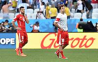 FUSSBALL WM 2014                ACHTELFINALE Argentinien - Schweiz                  01.07.2014 Blerim Dzemaili (li) und Admir Mehmedi (re, beide Schweiz) sind nach dem Abpfiff enttaeuscht