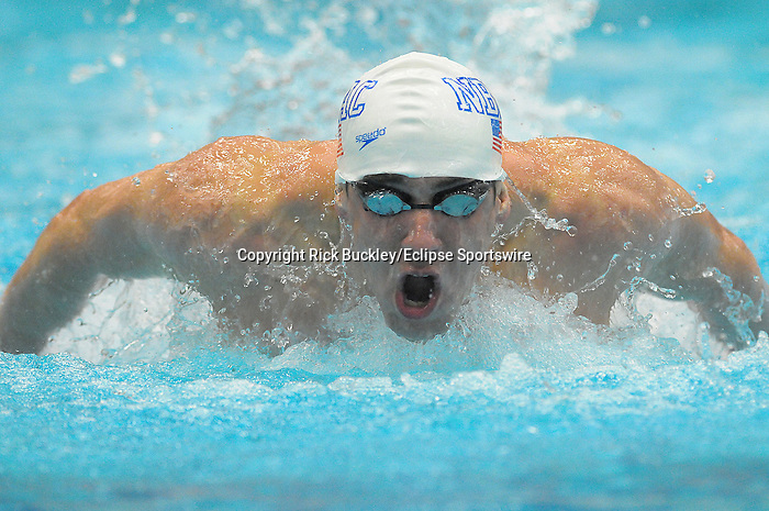 07 March 10:  Fourteen-time Olympic gold medal winner Michael Phelps shook off the rust and hopped back into the pool to compete at the Maryland State Swimming Championships.  Swimming for the North Baltimore Aquatic Club, Phelps improved upon a disappointing swim on Friday in the 400-yard IM, to set a personal best in the 200-yard IM and to set a new American Record in the 200-yard butterfly at The Naval Academy in Annapolis, Maryland.