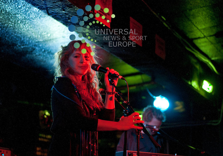 Niki and the Dove's Malin Dahlstrom singing live at King Tut's Wah Wah Hut as part of the NME Radar Tour 2011.  ..Picture: Peter Copeland