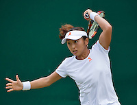 London, England, 2 July, 2016, Tennis, Wimbledon, Misaki Doi (JAP) in her junior match against Anna-Lena Frredsham (GER)<br /> Photo: Henk Koster/tennisimages.com