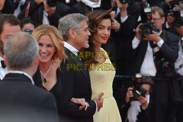 Julia Roberts, George Clooney and his wife Amal at the &acute;Money Monster` screening during The 69th Annual Cannes Film Festival on May 12, 2016 in Cannes, France.<br /> CAP/LAF<br /> &copy;Lafitte/Capital Pictures