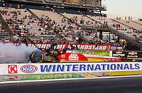 Feb 6, 2015; Pomona, CA, USA; NHRA top fuel driver Doug Kalitta during qualifying for the Winternationals at Auto Club Raceway at Pomona. Mandatory Credit: Mark J. Rebilas-USA TODAY Sports