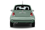 Straight rear view of a 2015 Fiat 500 POP 3 Door Hatchback Rear View  stock images