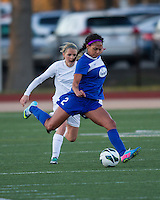 In a National Women's Soccer League Elite (NWSL) match, the Boston Breakers and  Washington Spirit drew 1-1, at the Dilboy Stadium on April 14, 2012.  Boston Breakers forward Sydney Leroux (2) kick a cross as Washington Spirit forward/midfielder Ingrid Wells (9) gives chase.