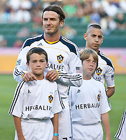 CARSON, CA – July 9, 2011: LA Galaxy midfielders David Beckham (23) and Paolo Cardozo (30) before the match between LA Galaxy and Chicago Fire at the Home Depot Center in Carson, California. Final score LA Galaxy 2, Chicago Fire FC 1.