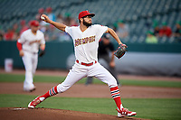 Memphis Redbirds starting pitcher Daniel Poncedeleon (73) delivers a pitch during a game against the Round Rock Express on April 28, 2017 at AutoZone Park in Memphis, Tennessee.  Memphis defeated Round Rock 9-1.  (Mike Janes/Four Seam Images)