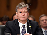 "Christopher A. Wray, Director, Federal Bureau of Investigation (FBI) testifies before the United States Senate Committee Homeland Security and Governmental Affairs on ""Threats to the Homeland"" on Capitol Hill in Washington, DC on Wednesday, September 27, 2017. Photo Credit: Ron Sachs/CNP/AdMedia"
