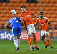 Blackpool's Jordan Thorniley battles with Barrow's Scott Quigley<br /> <br /> Photographer Dave Howarth/CameraSport<br /> <br /> EFL Trophy Northern Section Group G - Blackpool v Barrow - Tuesday 8th September 2020 - Bloomfield Road - Blackpool<br />  <br /> World Copyright © 2020 CameraSport. All rights reserved. 43 Linden Ave. Countesthorpe. Leicester. England. LE8 5PG - Tel: +44 (0) 116 277 4147 - admin@camerasport.com - www.camerasport.com