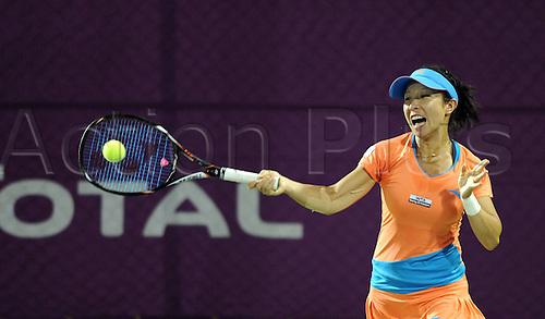 15 02 2012  Doha, Qatar.  Zheng Jie of China Hits A Return during during her 1st Round womens single match.