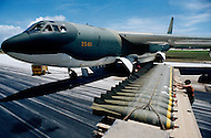June 1972, Guam --- The Andersen Air Force Base on Guam Island from where the B-52 Stratofortress planes take off for Vietnam. 700lb (pound) bombs are loaded into the hold of a B-52.