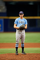 Nick Sprengel (25) gets ready to deliver a pitch during the Tampa Bay Rays Instructional League Intrasquad World Series game on October 3, 2018 at the Tropicana Field in St. Petersburg, Florida.  (Mike Janes/Four Seam Images)