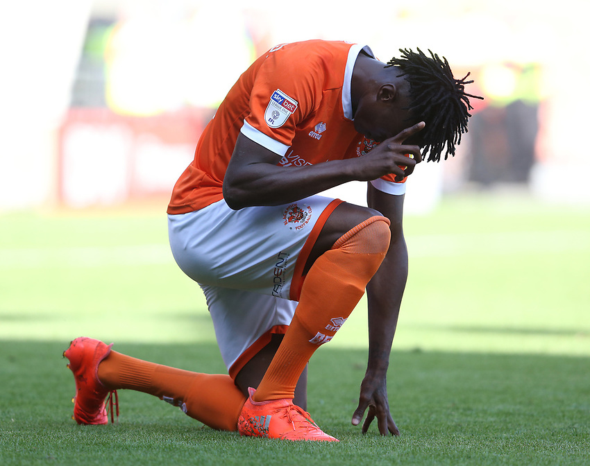 Blackpool's Armand Gnanduillet celebrates scoring his side's equalising goal to make the score 1-1<br /> <br /> Photographer Stephen White/CameraSport<br /> <br /> The EFL Sky Bet League One - Blackpool v Portsmouth - Saturday 31st August 2019 - Bloomfield Road - Blackpool<br /> <br /> World Copyright © 2019 CameraSport. All rights reserved. 43 Linden Ave. Countesthorpe. Leicester. England. LE8 5PG - Tel: +44 (0) 116 277 4147 - admin@camerasport.com - www.camerasport.com