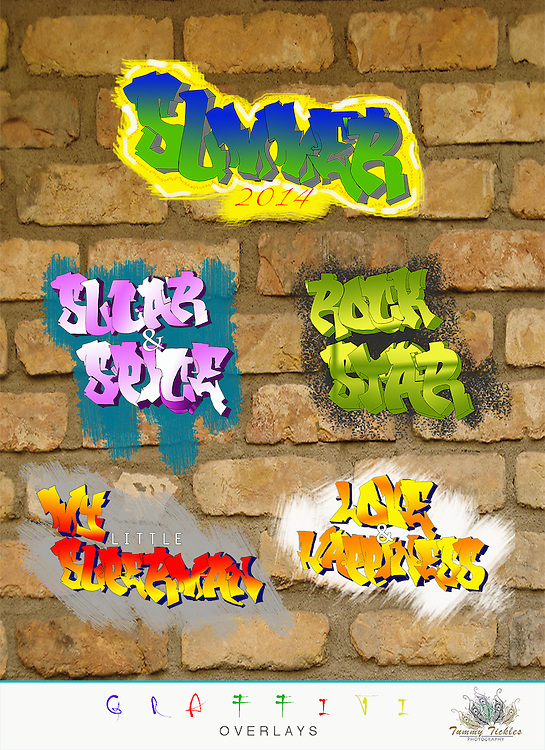 Hand drawn &amp; computer designed graffiti overlays, personalize your fun and care free photos with Tummy Tickles Graffiti Overlays. These can be for personal use or for clients, you will receive:<br /> <br /> <br /> ● 1 psd file in an editable .psd format. - dpi 185<br /> ● easily change colors and fonts<br /> ● Use with Photoshop CS<br /> ● Instant Download<br /> <br /> <br /> ** Due to the digital nature of this product, there are no refunds, if you have questions please contact us. Our digital overlays are designed to be as straight forward as possible. Simply resize, position. It is recommended having a good comfort level working with layers in Photoshop or PSE prior to purchasing these templates.