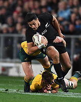 Rieko Ioane.<br /> Bledisloe Cup and Rugby Championship test match. New Zealand All Blacks v Australian Wallabies at Forsyth Barr Stadium, Dunedin, New Zealand. Saturday 26 August 2017. © Copyright photo: Andrew Cornaga / www.Photosport.nz