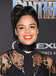 HOLLYWOOD, CA - JANUARY 29: Actor Tessa Thompson attends the premiere of Disney and Marvel's 'Black Panther' at  the Dolby Theater on January 28, 2018 in Hollywood, California.