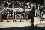 30 September 2015: Sporting head coach Peter Vermes (right) stands in front of the bench and assistants (from right) Kerry Zavagnin, Zoran Savic (SRB), and Mateus Manoel (BRA). The Philadelphia Union hosted Sporting Kansas City at PPL Park in Chester, Pennsylvania in the 2015 Lamar Hunt United States Open Cup Final. The game ended in a 1-1 tie after extra time. Sporting Kansas City won the Championship by winning the penalty kick shootout 7-6.
